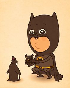 """""""Just like us """" by Mike Mitchell, superheros  in ironic situations."""