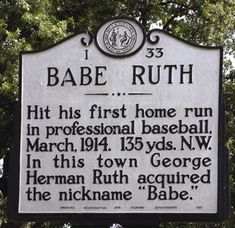 Babe Ruth hit his 1st home run in Fayetteville