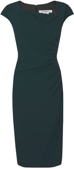 """LK Bennett """"Davina"""" Dress in Teal.   Gorgeous dress for work, or dress up with scarf / wrap for evening. Elegant, fitted lines."""