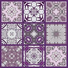 ArtbyJean - Images of Lace: Tea bag tiles in shades of purple