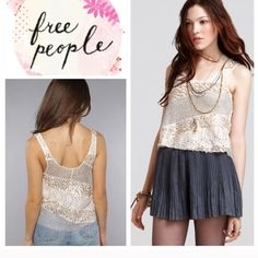 Free People Itsy Bitsy Glitzy tank Crop tank . Looks great w skirts or shorts . Size m and will fit a size 4-6. In like new condition. Will bundle for 10% off all bundles of 2 or More items Free People Tops Tank Tops