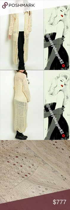 """Gorgeous and comfy cream knitted cardigan Brand new with tags Boutique item, Price is firm  Fabulous, comfy and chic Cream knitted cardigan. Pair over your favorite jeans and top, or over a dress with heels! I am loving this long knitted cardigan plus it has my favorite detail, POCKETS   MATERIAL 100% acrylic S/M Bust 40"""" around/LENGTH 48"""" M/L Bust 42"""" around/Length 48"""" 1 hook closure        Sweaters"""