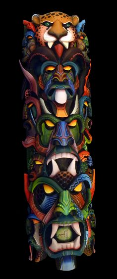 Exceptional one-of-a-kind, hand-carved, hand-painted art piece: wall masks created by indigenous artist of Brunka tribe in Costa Rica - representing their annual ceremony, Dance of the Little Devils. Intricate detail,  - Costa Rica