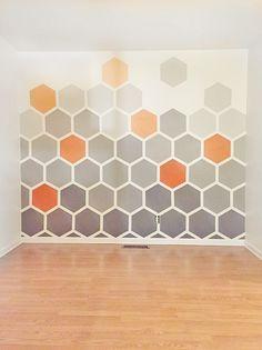 - DIY Ombre Hexagon Wall - planned randomness