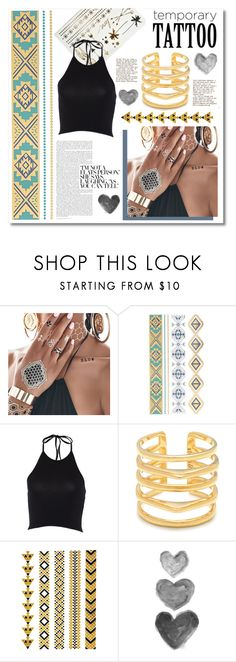 """Temporary tattoo"" by maki007 ❤ liked on Polyvore featuring beauty, Flash Tattoos, AnnaBee, Stella & Dot, polyvoreeditorial and temporarytattoo"
