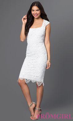 Short Lace Square Neck Knee Length Dress Style: JU-MA-262390