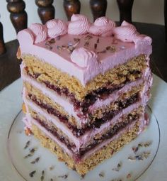Vegan Lavender Almond Cake with Marzipan and Blueberry Filling.