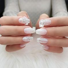 Wedding Natural Gel Nails Design Ideas For Bride 2019 The Best Wedding Nails 2020 Trends Lace Nails Bridal Nails The Most Stunning Wed. Pink Nail Art, White Nail Art, Glitter Nail Art, Silver Glitter, Natural Gel Nails, Natural Nail Art, Nagel Hacks, Nagel Blog, Bride Nails