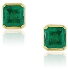 18K Yellow Gold Colombian Emerald Stud Earrings