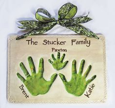 """Family plaque, hand impression keepsake made from your child's hand. Mail order available. Email me for more details: Amy@MittsPiggysPaws.com Visit and """"LIKE"""" us on Facebook for the newest, cutest designs!! www.Facebook.com/MittsPiggysPaws"""