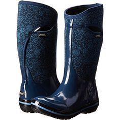 Bogs Plimsoll Quilted Floral Tall Mud Boots, Plimsolls, Rubber Rain Boots, Indigo, Free Shipping, My Style, Floral, Fall Winter, Shoes
