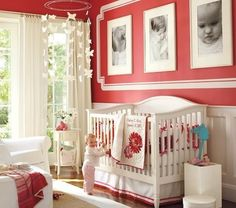 Pink white baby girl nursery room