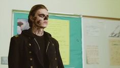 """American Horror Story: Murder House, season 1, episode 1, """"Pilot,"""" aired 5 October 2011. Tate Langdon is played by Evan Peters. This is the fantasy scene where Tate is telling Dr. Ben Harmon, played by Dylan McDermott, about his fantasies that he started having two years ago about killing people he liked."""