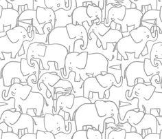 Hugo Grey Elephants fabric by indiecraftparade on Spoonflower - custom fabric