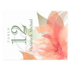 Table Numbers - Abstract Floral - Orange Ice Postcard