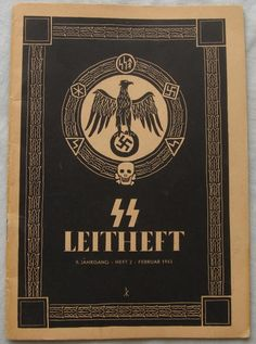 SS Leitheft, the cover features the drawing of Klaus Maria Wiligut of the original Totenkopfring plus an added partyeagle in the middle