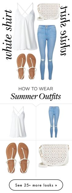 """Adorable white shirt, summer outfit"" by shaya-bvb-4-life on Polyvore featuring Dondup, New Look, Aéropostale, Under One Sky and WardrobeStaples"