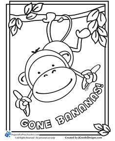 Monkey Gone Bananas Coloring Page Printables For Kids Free Word Search Puzzles Pages And Other Activities