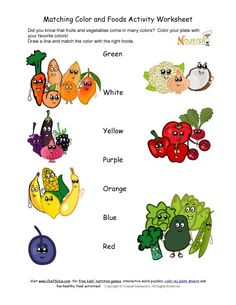 Match the colors to the fruits and vegetables activity.