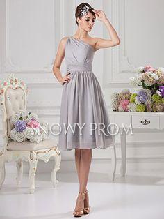[US$74.99] Silver Short Chiffon One Shoulder A-Line Wedding Party Dress