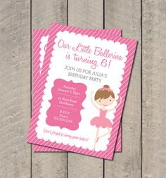 Items similar to Ballerina Birthday Party Invite - Hot Pink & Light Pink Ballet Invitation - Digital Printable Invite - Pink Tutu Birthday on Etsy Ballerina Birthday Parties, Ballerina Party, Little Ballerina, Birthday Tutu, Pink Tutu, Get The Party Started, Printable Invitations, Favor Tags, Birthday Party Invitations