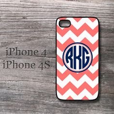 Personalized iPhone 4 coral chevron and navy blue by MonogramCase, $14.99