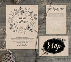 Rustic Wedding Invitation Template, Printable Kraft Wedding Invite, RSVP…