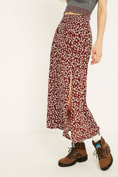 UO Maroon Floral Beach Midi Skirt | Urban Outfitters