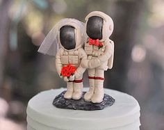 Astronaut Wedding Cake Toppers with Moon Base - Space Geek Cake Topper