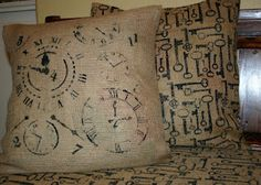 stenciled burlap pillows