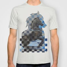 Dark kinght and white knight chess horses 2 T-shirt