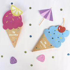 Envía bonitas tarjetas de cumpleaños en forma de helado para el cumpleaños de tu hijo/a. Un DIY muy fácil con nuestras plantillas a descargar gratuitamente.
