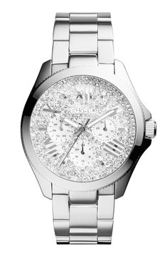 Classic bracelet style watch with pave crystals.