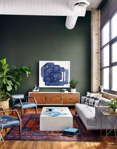 Mid-century vibes are yours with the Cordelle media console. Featuring both drawers and sliding cabinet doors wrapped in a high-gloss white frame, it's a stylish storage solution for your living room. Green Accent Walls, Dark Green Walls, Accent Walls In Living Room, Living Room Green, Green Painted Walls, Bedroom Green, Room Color Schemes, Room Colors, Wall Colors