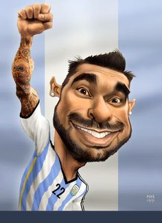 Pocho LAVEZZI WC 2014 #ARGENTINA Funny Caricatures, Celebrity Caricatures, Sports Art, Kids Sports, 1957 Chevy Bel Air, Cinema Tv, Black And White Cartoon, Girl Fashion Style, Making Faces