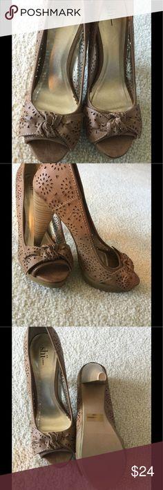 "Brown Cutout Open Toe Heels Cute bow on top, Cutout design, bough on Poshmark, never worn, size 7.5, fits TTS, heel height 4"" Shi Shoes Heels"