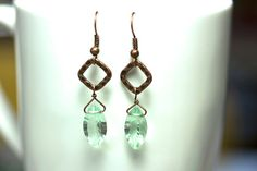 Green Flourite Antique Copper earrings   AAA Grade  by KParDesign, $26.99. Modern jewelry