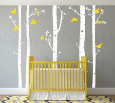Birch Tree Wall Decal with Love Dove Birds and Birdhouse, Birch Tree Decal with Birdhouse and Doves for Nursery, Kids or Childrens Room 05