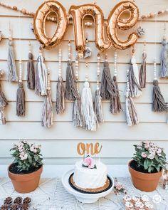Boho first birthday girl decorations. Boho tassel garland wall hangings with pom poms. Boho first birthday girl cake. Dessert Table Birthday, Birthday Cake Girls, Girl First Birthday, 1st Birthday Parties, Themed Parties, Birthday Wishes, Birthday Ideas, Popular Birthdays, First Birthdays