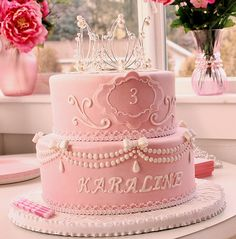 Pink Princess Cake.  Again, a very elegant cake, fit for a princess.