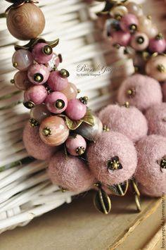 """Колье """"Яблонька"""" #necklace #felting #wool #eco"""