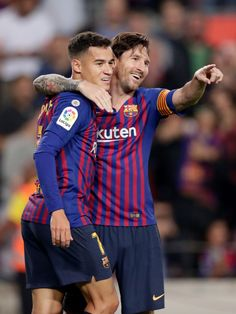 Lionel Messi of FC Barcelona celebrates with Philippe Coutinho of FC Barcelona during the La Liga Santander match between FC Barcelona v Sevilla at the Camp Nou on October 2018 in Barcelona. Get premium, high resolution news photos at Getty Images Soccer Guys, Messi Soccer, Football Boys, Soccer Players, Barcelona Fc, Lionel Messi Barcelona, Barcelona Soccer, Barcelona Catalonia, Camp Nou
