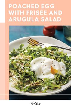 This recipe for poached egg with frisée and arugula salad is a dish you'd find on a brunch menu, but is easy to recreate at home. #poached #egg #salad Arugula Salad Recipes, Healthy Salad Recipes, Food Salad, Egg Salad, Spicy Honey, Brunch Menu, 500 Calories, Cooking Food, Vegetarian Cooking