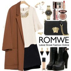 Romwe by oshint on Polyvore featuring moda, Zara, Versace, Marc by Marc Jacobs, Sole Society, Vita Fede, Valentino, Bling Jewelry, MAC Cosmetics and Charlotte Tilbury