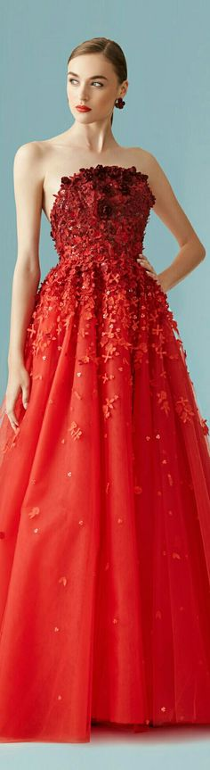 CAROLINE HERRERA ¤ Resort Collection ¤ Gown Is in Vermillion w. Flower Petal of Varying Degrees of On the Red Hues ¤ 2017.