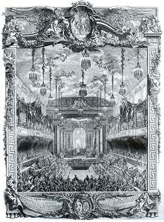 A performance of Rameau's La princesse de Navarre on 23 February 1745 in the theatre of the Grande Écurie, Versailles, as part of the celebrations of the marriage of the dauphin Louis to Maria Teresa of Spain.