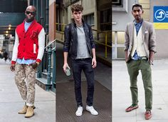 Loving this trend toward military style even for men! The street style to the right is my favorite with the olive cargo pants, denim shirt, vest and blazer!