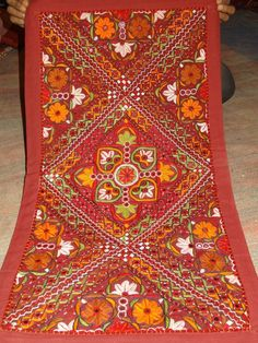 Handmade embroidery sari patchwork decoration tepestry decor wall hanging #Handmade