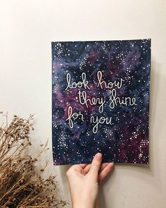 Original Look How They Shine For You Starry Sky Watercolor Painting // Coldplay Yellow Lyrics // Coldplay Art // Home Decor // Nursery Acrylic Painting Canvas, Diy Painting, Painting & Drawing, Canvas Wall Art, Watercolor Cards, Watercolor Paintings, Watercolors, Coldplay Art, Guache