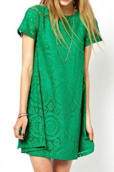 #6ks Green O-neck Short Sleeves Lace Dress